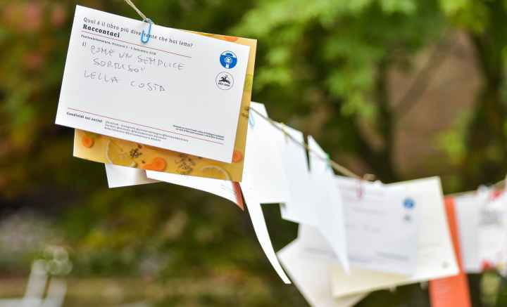 selective focus photo of hanging papers on clothes line